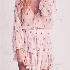 Worn once Loveshackfancy pink floral popover dress